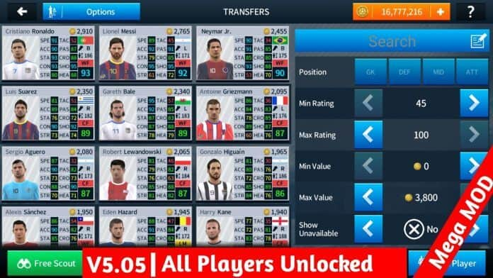 Dream League Soccer 2018 v5.05 Mega MOD Apk Obb Data Download